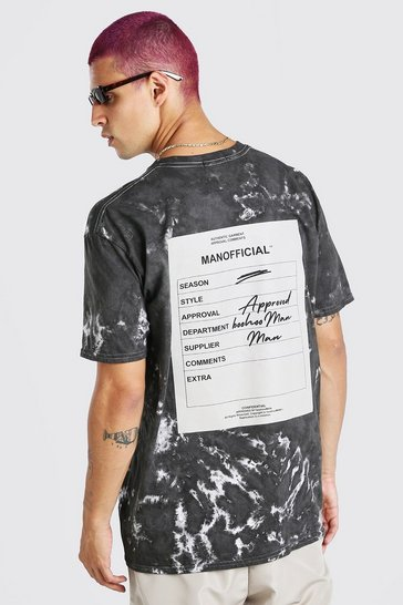 Black Oversized Tie Dye Man Official F&B Print T-Shirt