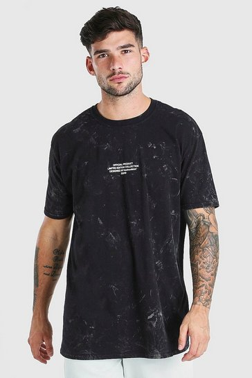 Black Oversized Acid Wash Dragon F&B Print T-Shirt