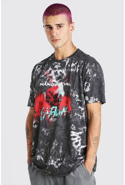 Black Oversized Tie Dye Man Official Skull Print T-Shirt