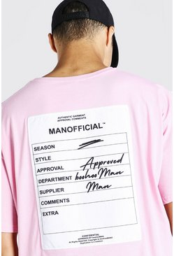 Pink Oversized Man Official Front & Back Print T-Shirt