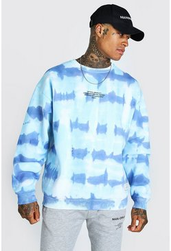 Blue blå Oversized Tie Dye Man Official F&B Print Sweatshirt