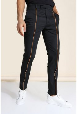 Neon-orange orange Skinny Neon Piped Tailored Pants