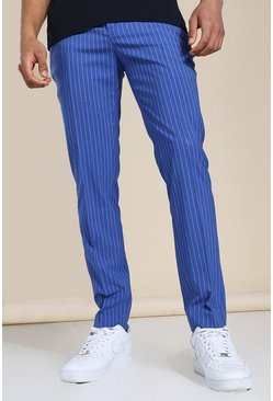 Skinny Pinstripe Tailored Trouser, Blue blau