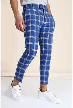 Blue Skinny Crop Large Check Tailored Pants
