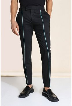Teal green Skinny Neon Piped Tailored Pants