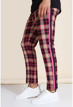 Multi Skinny Crop Check Tape Tailored Pants