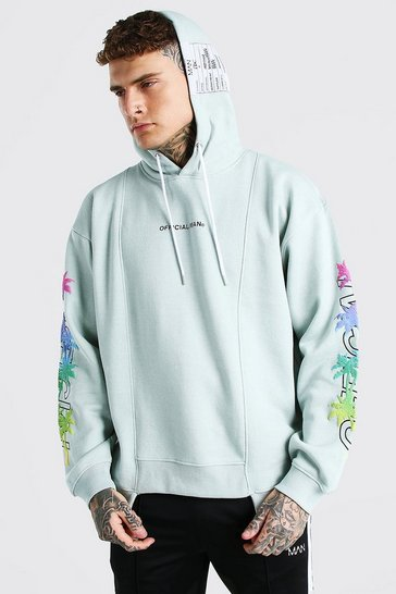 Grey Oversized Spliced Hem Palm Sleeve Print Hoodie