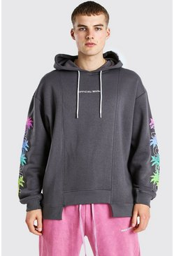 Charcoal grey Oversized Spliced Hem Palm Sleeve Print Hoodie