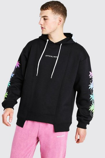 Black Oversized Spliced Hem Palm Sleeve Print Hoodie