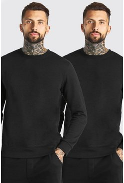Black svart Basic Sweatshirts (2-pack)