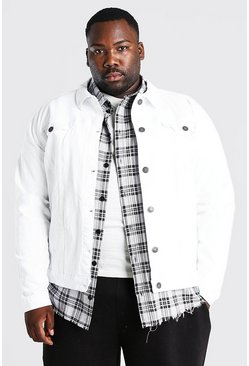 White Plus Size Stretch Denim Jacket