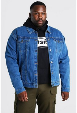 Mid blue blue Plus Size Stretch Denim Jacket