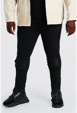Black Plus Size Super Skinny Biker Jean