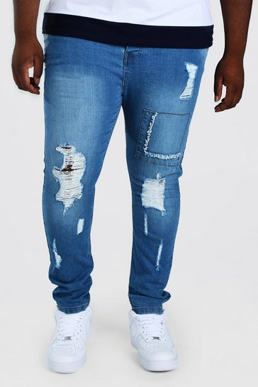 Mid blue blue Plus Size Super Skinny Rip And Repair Jean