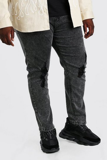 Charcoal grey Plus Size Acid Wash Skinny Fit Jean