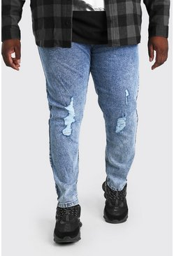 Pale blue blue Plus Size Acid Wash Skinny Fit Jean