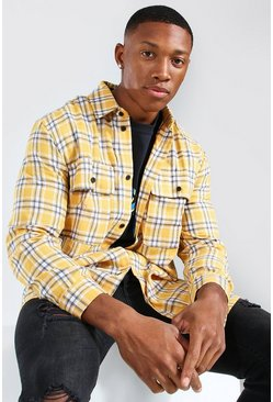 Yellow Long Sleeve Brushed Check Overshirt