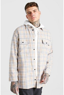 Stone beige Long Sleeve Brushed Check Overshirt