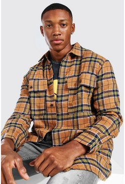 Tan brown Long Sleeve Brushed Check Overshirt
