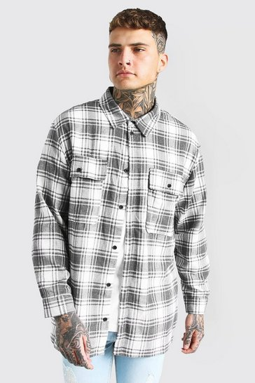 Grey Long Sleeve Brushed Check Overshirt