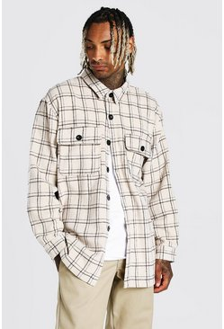 Ecru white Long Sleeve Heavy Weight Check Overshirt
