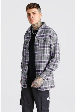 Purple Long Sleeve Heavy Weight Check Overshirt