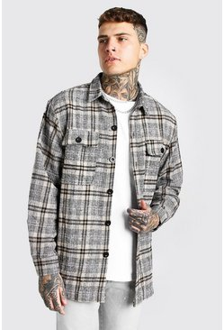 Tan brown Long Sleeve Heavy Weight Check Overshirt