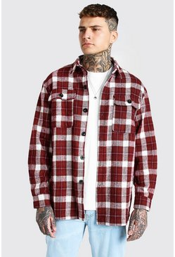 Red Long Sleeve Heavy Weight Check Overshirt