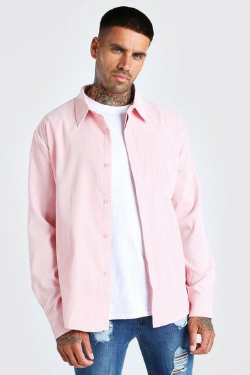 Pale pink pink Long Sleeve Oversized Corduroy Shirt