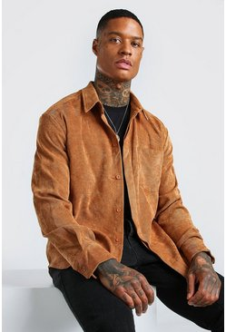Tan brown Long Sleeve Oversized Corduroy Shirt