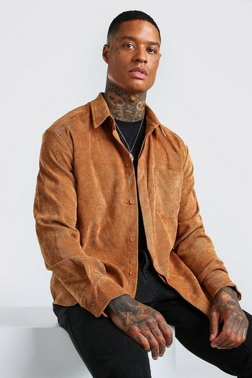 Tan brown Long Sleeve Oversized Cord Shirt