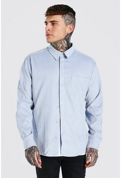 Pale blue blue Long Sleeve Oversized Corduroy Shirt