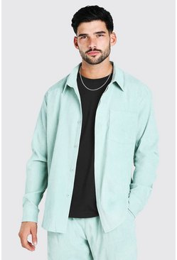 Sage green Long Sleeve Oversized Corduroy Shirt