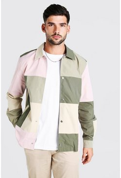 Multi Colour Block Pastel Nylon Overshirt