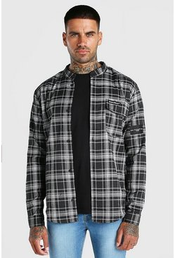 Charcoal grey Man Official Stand Collar Relaxed Flannel Shirt