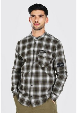 Khaki Man Official Stand Collar Relaxed Flannel Shirt