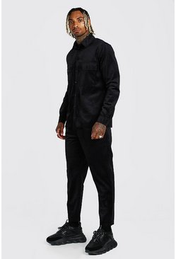 Black Corduroy Utility Shirt And Pants Set