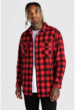 Red Long Sleeve Oversized Brushed Check Shirt