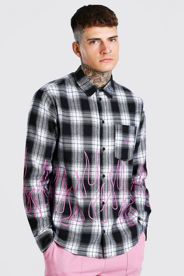 Black Long Sleeve Flame Hem Check Shirt