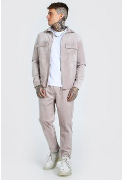 Stone beige Corduroy Utility Shirt And Pants Set
