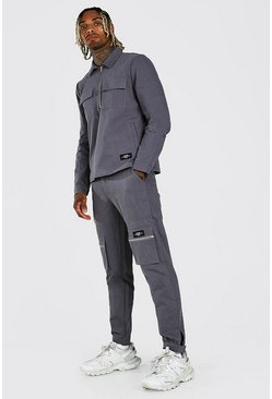 Charcoal Man Cargo Pocket Shirt And Trouser Co-Ord