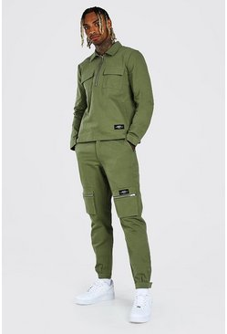 Khaki MAN Cargo Pocket Shirt And Trouser Co-Ord