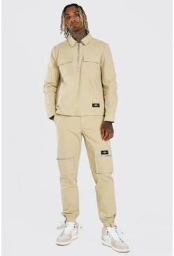 Stone MAN Cargo Pocket Shirt And Trouser Co-Ord