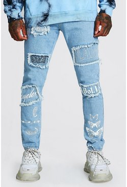 Light blue blue Skinny Rigid Jeans With All Over Embroidery