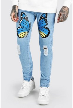 Light blue blue Skinny Stretch Jeans With Butterfly Print