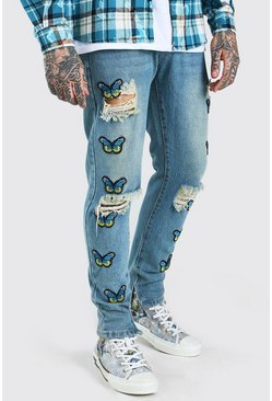 Light blue blue Skinny Rigid Butterfly Applique Badge Jeans