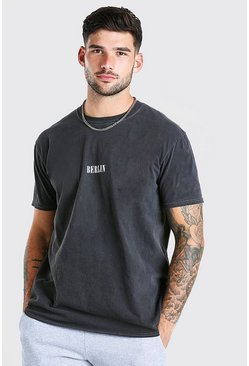 Charcoal grey Oversized Berlin Print Overdyed T-Shirt