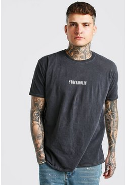 Charcoal grey Oversized Overdye Stockholm T-Shirt