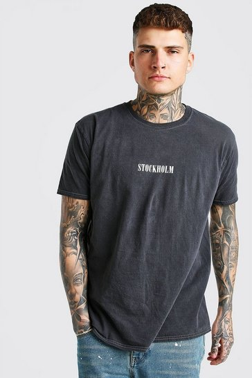 Charcoal grey Oversized Stockholm Print Overdyed T-Shirt