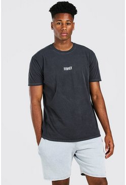 Charcoal grey Oversized Sydney Print Overdyed T-Shirt